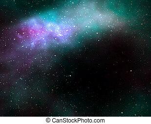 kosmos, nebelfleck, tief, galaxie, raum