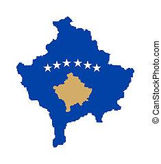 Kosova flag on map