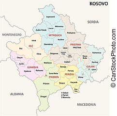 kosovo administrative and political vector map