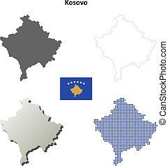 Kosovo blank outline map set
