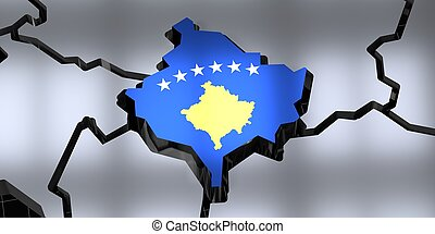 Kosovo - country borders and flag - 3D illustration