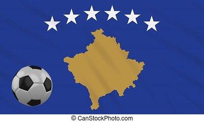 Kosovo flag waving and football rotates, loop - Kosovo flag...