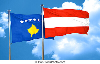 Kosovo flag with Austria flag, 3D rendering