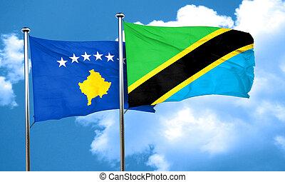 Kosovo flag with Tanzania flag, 3D rendering