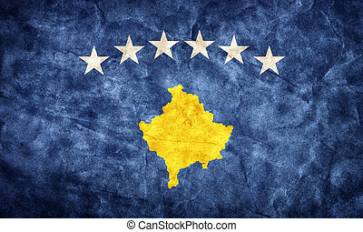 Kosovo grunge flag. Item from my vintage, retro flags collection