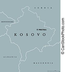 Kosovo political map with capital Pristina