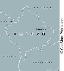 Kosovo political map with capital Pristina
