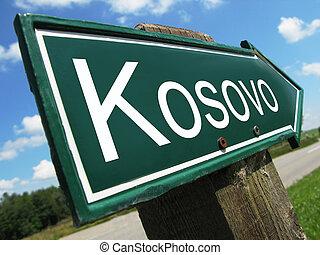 Kosovo road sign