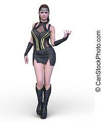kostüm, frau, übertragung, 3d