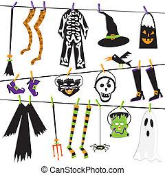 kostüm halloween, wäscheleine