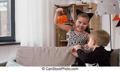 kostüme, halloween, buchse-o-laterne, kinder