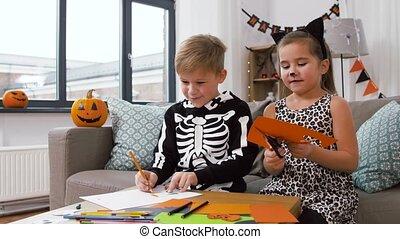 kostüme, kinder, halloween, daheim, handwerke