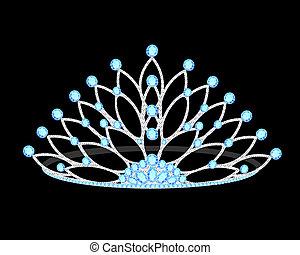 kostbar, schwarz, tiara, wedding, frauen, steine