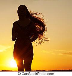 kosteloos, gelukkige vrouw, het genieten van, nature., beauty, meisje, outdoor., vrijheid, c