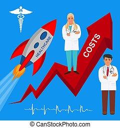 kosten, vector, opstand, illustratie, gezondheidszorg
