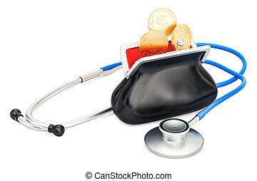 kosten, von, ärztliche behandlung, begriff, 3d, übertragung