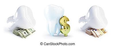 kosten, von, zahnbehandlungen, auf, a, weißer hintergrund, 3d, abbildung