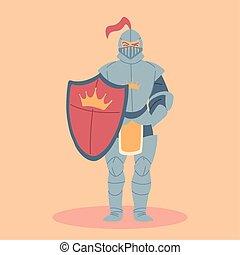 kostium, średniowieczny, rycerz, zbroja