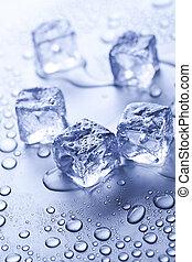 kostki, lód, mokry