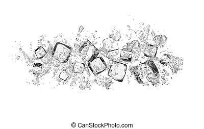 kostki, lód polewają, plamy, tło, biały