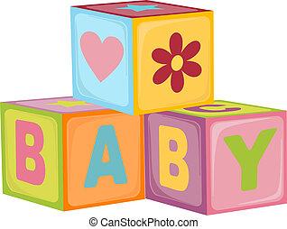 kostki, niemowlę, litera