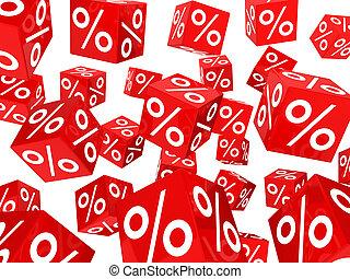 kostki, procent, sprzedaż, czerwony
