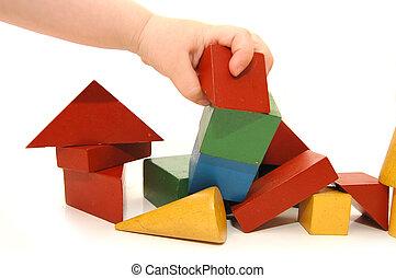 kostki, ręka, zburzony, children\'s, zbudowanie, ma