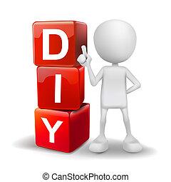kostki, słowo, ilustracja, osoba, diy, 3d