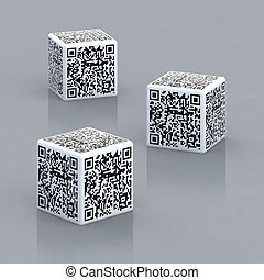 kostki, trzy, barcodes