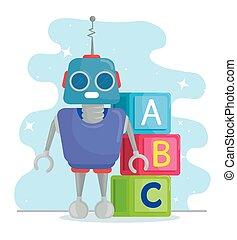 kostki, zabawki, alfabet, robot, dzieciaki