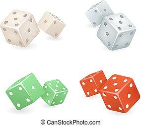 kostky, 3, realistický, hra, deisgn, ikona, dát, vektor, ilustrace