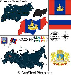 Vector map of Kostroma Oblast with coat of arms and location on Russian map