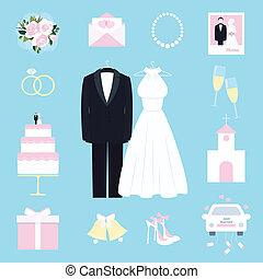 kostuum, en, toga, omringde, door, trouwfeest, iconen