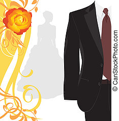 kostuum, mannelijk, trouwfeest