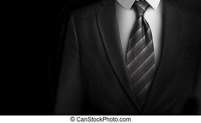 kostuum, met, grijs, vastknopen