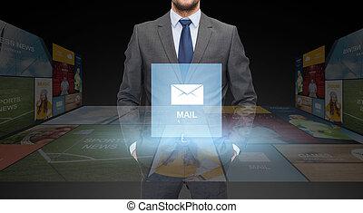 kostuum, op, zakenman, afsluiten, email, pictogram