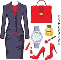 kostuum, set, mode, vrouwlijk