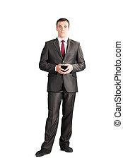 kostuum, vastknopen, lengte, volle, zakenman