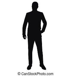kostuum, vector, silhouette, vrijstaand, man