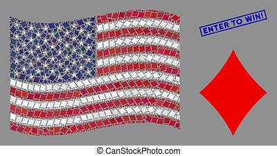 kostuum, win!, ruiten, collage, binnengaan, staten, postzegel, verenigd, vlag, gekraste