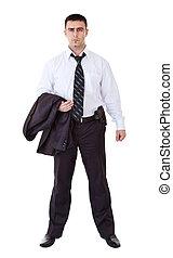 kostuum, zwarte jonge man, geweer