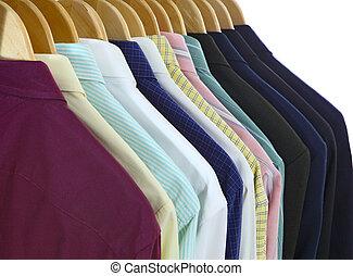kostuums, en, overhemden, back