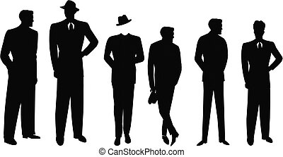 kostuums, mannen, silhouette, retro