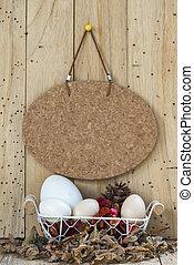kosz, jaja, drewno, wielkanoc, tło