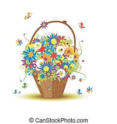 kosz, kwiaty, projektować, twój