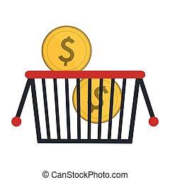 kosz, monety, zakupy