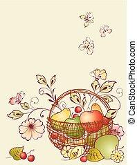 kosz owocu, kwiaty
