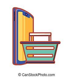 kosz, smartphone, zakupy