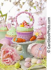 kosz, wielkanoc, cupcake
