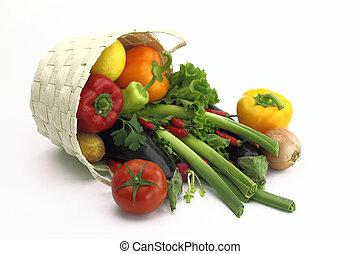 kosz, wiklina, warzywa, pełny, świeży